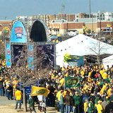 NDSU fans line the streets surrounding Toyota Stadium in Frisco, Texas before the FCS National Championship game between NDSU and Towson.